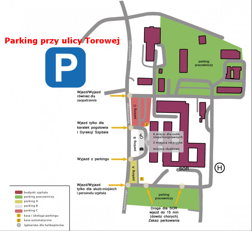 Parkingi Wojewódzkiego Szpitala oraz dodatkowo parkingu przy ulicy Torowej.