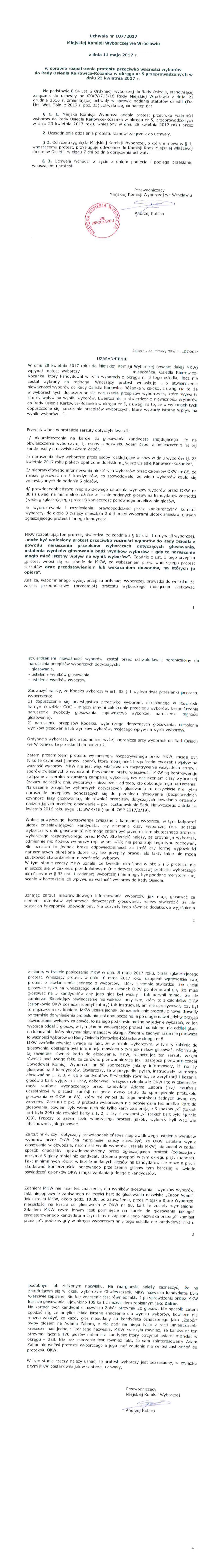 Odwołanie Komisja Wyborcza Powołanie RO Karłowice Różanka