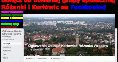 Dołącz do społecznej GRUPY na Facebooku – Ogłoszenia Osiedle Karłowice Różanka Wrocław!