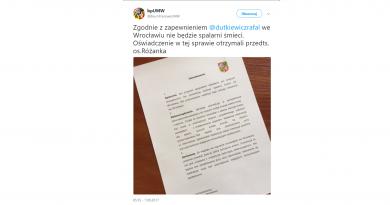 Oświadczenie Prezydenta Wrocławia w sprawie spalarni odpadów, elektrociepłowni i sortowni odpadów we Wrocławiu.