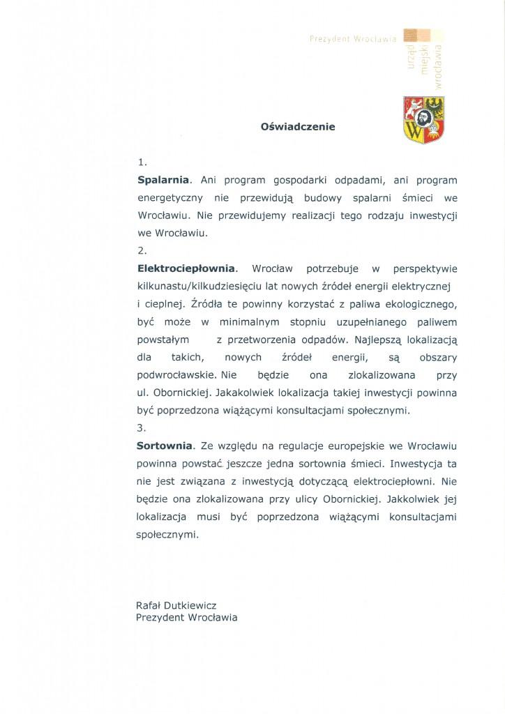 Oświadczenie Prezydenta Rafała Dutkiewicza w sprawie Sparalni Odpadów przy ulicy Obornickiej we Wrocławiu.