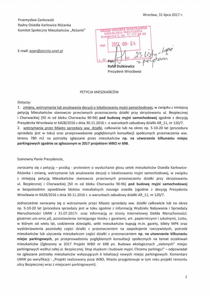 Petycja w sprawie myjni str 1