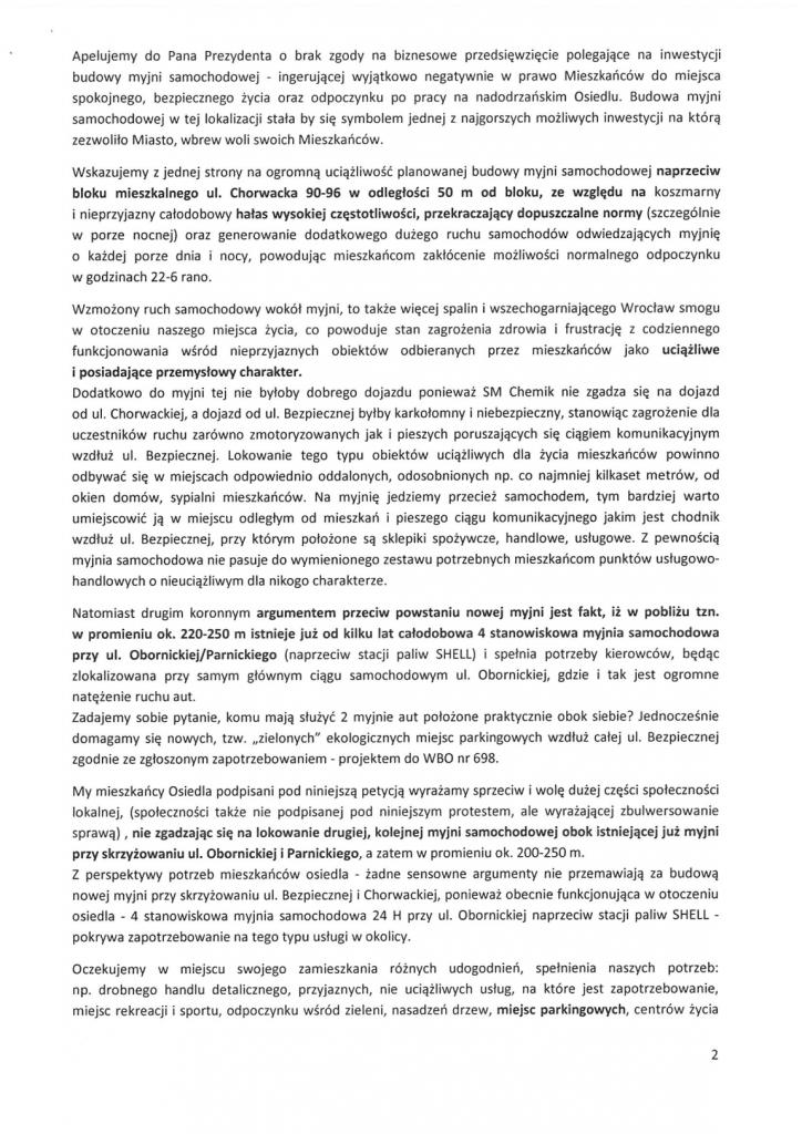 Petycja w sprawie myjni str 2