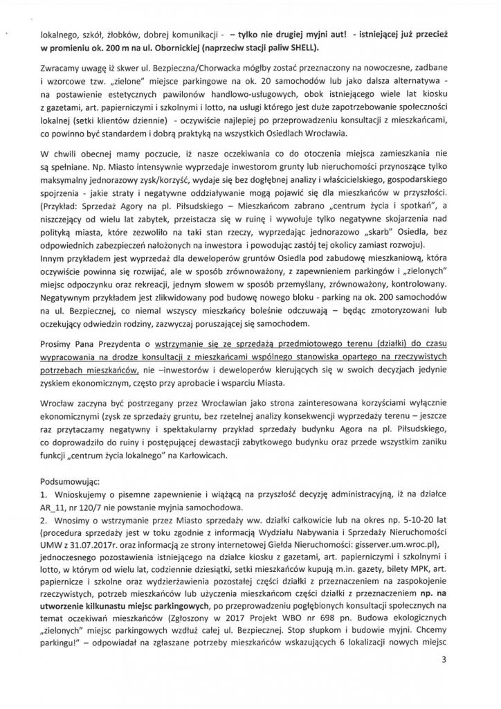 Petycja w sprawie myjni str 3