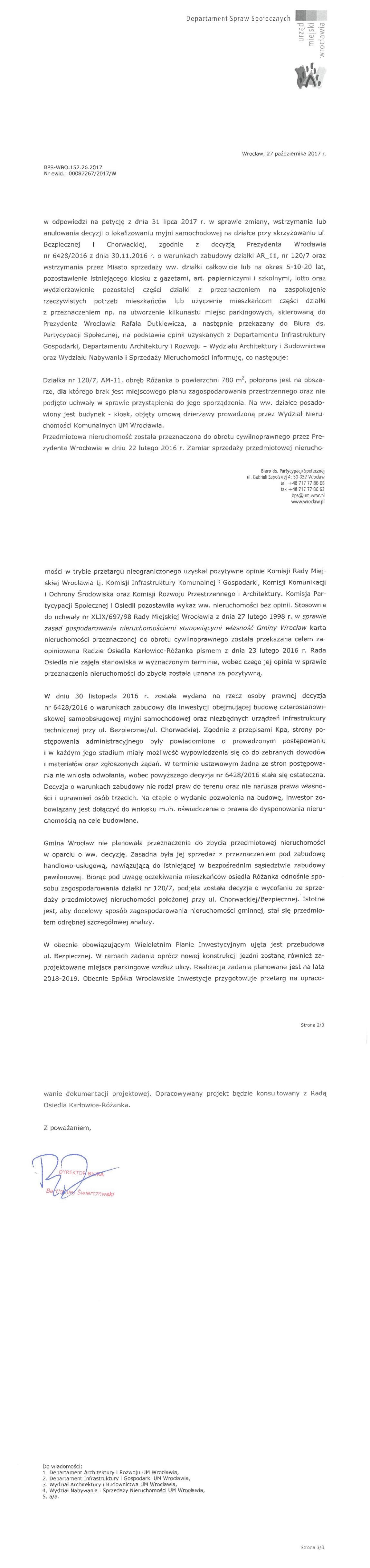 Odpowiedż na petycję w sprawie myjni samochodowej ulica bezpieczna wrocław