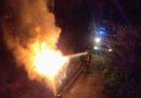 Pożar kontenera z odpadami wielkogabarytowymi na Karłowicach