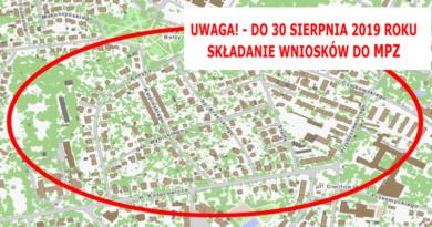 UWAGA! – do 30 sierpnia 2019 – termin składania wniosków do Miejscowego Planu Zagospodarowania Przestrzennego – dla rejonu Czajkowskiego / Przybyszewskiego / Kasprowicza / Asnyka